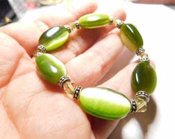 190 mm/7.5 in-Certified Natural Green Jadeite Emerald Jade Beads Stretchy Bracelet 《Grade A》