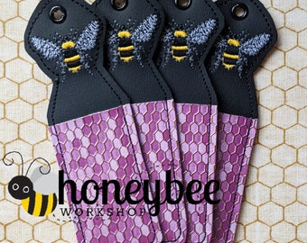 Lavender Bee Lip Balm Holder Keychain - Key Fob