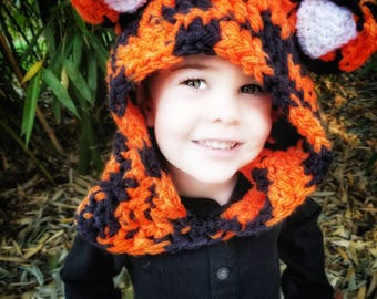 Tiger Hood: Tiger Costume, Toddler Costume, Hooded Scarf, Cowl, Hood Costume, Montessori, Confidence Hoods, Character, Social Skills