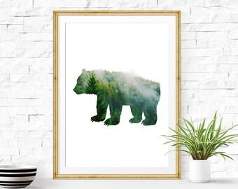 Bear Print, Bear Decor, Bear Wall Art, Bear Art, Bear Painting, Watercolor Bear, Bear Wall Decor, Bear Gifts, Bear Poster, Childrens Art