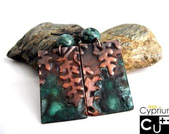 Handmade copper earrings with green patina, embossed ferns and agate beads/Handmade boho earrings