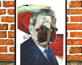 "Poster print, mechanical derived from one of my collage, Collage art, wall deco, surrealism, universe, ""Connected"""