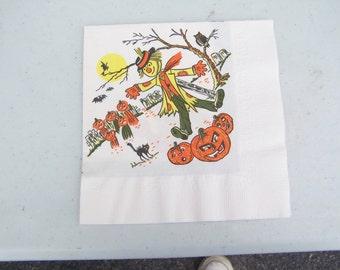 Two vintage retro Halloween party napkins scarecrow black cat pumpkin JOL jack o' lantern witch owl
