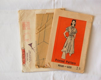 "Vintage 1970s Mail Order Pattern 9220 / Size 14 / Bust 36"" / Factory Folds / Misses' Dress Sewing Pattern"