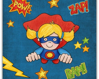 Double 'Super-Hero' original design handmade 15cm x 15cm