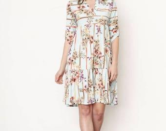 Floral Ruffle Notch Neck Midi Dress