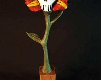 Skull Flower Halloween Folk Art Dark Art