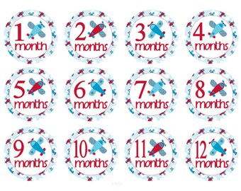 Monthly Baby Stickers Airplanes Baby Month Stickers Boy Baby Monthly Stickers Baby Shower Gift