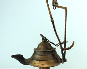 Antique Brass Whale Oil Betty Lamp, 19th Century Early Lighting, Primitive  Lighting, PetesNeatOldStuff