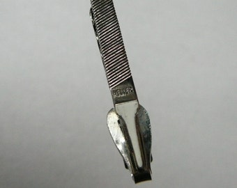 Vintage tool File tie clip accessory signed Heller Tool Co. Simonds very collectible