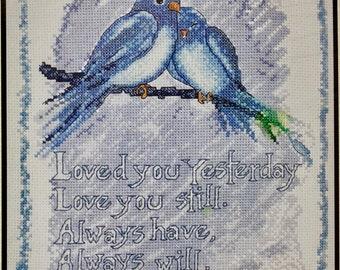 "Counted Cross Stitch Kit LOVE YOU ALWAYS Beautiful Bluebirds Sentimental Large 8"" x 10"" Size ! Bucilla Plaid"