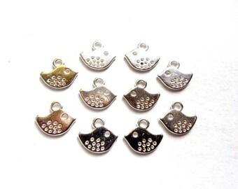 10 Antique Silver Bird Charms - 21-16-2