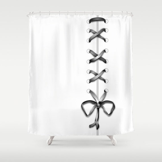White Laced Shower Curtain, Grey Ribbon Bathroom Decor, Modern Home Decor, Feminine Shower Curtain, Romantic,Wedding Gift,Bow Shower Curtain