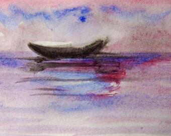 Boat Painting, Original Acrylic on Paper,, Sea painting, Boat painting, Small painting, Modern Painting