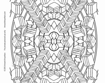 Triple Layer Stacked Candy Mandala - Adult coloring page printable download from Candy Kaleidoscope Artwork Anywhere ~hand drawn candies~