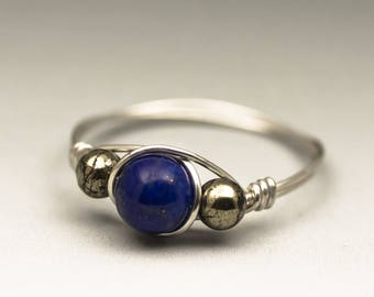 Lapis Lazuli & Pyrite Gemstone Sterling Silver Wire Wrapped Ring - Made to Order, Ships Fast!