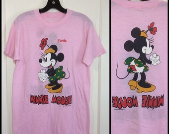 1970s pink paper thin Minnie Mouse Florida t-shirt looks size medium 18x28 Disney character tee front and back print 2 sided