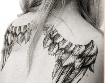 Angel Wings Tattoo - Feather wings - Angel Wings Temporary Tattoo - Beautiful Angel Wings Comes in Many Sizes