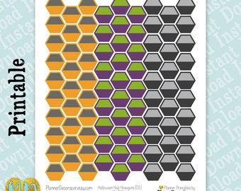 Halloween Hexagon Printable Planner Stickers, Large Halloween Hexagon Label stickers, Two Tone Hex Honeycomb Stickers / Instant Download