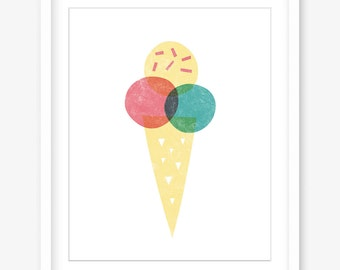 Printable wall art - ice cream print - digital kitchen print - printable kitchen wall art - printable food artwork - INSTANT POSTER DOWNLOAD