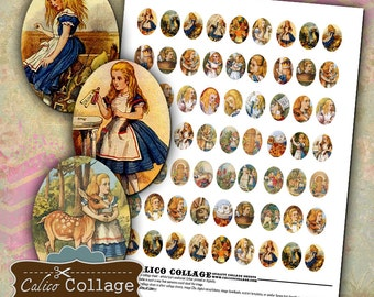 Alice in Wonderland, 18x25mm, Digital Ovals, Collage Sheet, Printable Download, Images for Earrings, Calico Collage, Printable Ovals