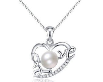 Love Pearl Heart necklace