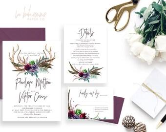 Printable Wedding Invitation Suite / Wedding Invite Set - The Bohemme Suite