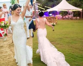 Mermaid Wedding Dress / Beach Wedding Dress / Lace Mermaid Dress / Romantic Wedding Dress / Open Back Dress/  Illusion Wedding Dress /