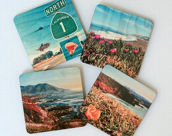 Northern California Coastal Views Coasters - Distressed Photo Transfers on Wood