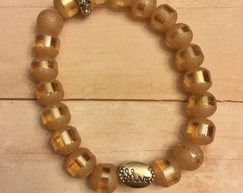 The Mrs bracelet, bridal shower or wedding gift stretchy bracelet w/ frosted champagne beads & silver mrs. bead, sparkly bride bracelet