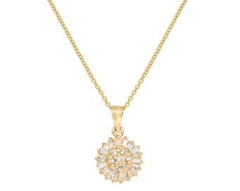 Baguette Halo Diamond Necklace, Baguette Round Diamond Pendant, 14kt Yellow Gold Necklace, Handmade by Gevani