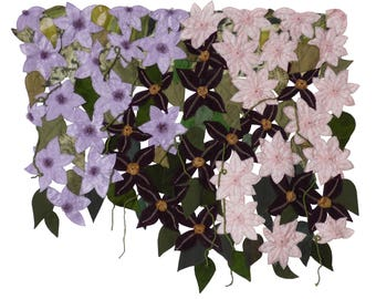Clematis Small art quilt Pink purple flower Textile wall hanging Silk quilt art Summer garden Bright colorful Unusual fiber picture Flower