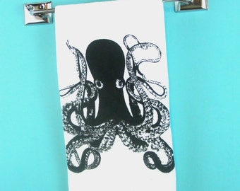 octopus kitchen towel - CUTE  nautical tea towels screen printed hand towel home and living gifts under water animal print