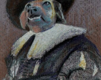 original art  aceo drawing anthromorphic dog victorian  costume