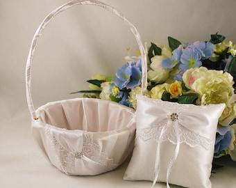 Flower girl basket and ring bearer pillow set Basket pillow set white Lace ring pillow Wedding cushion Lace basket Wedding basket pillow set