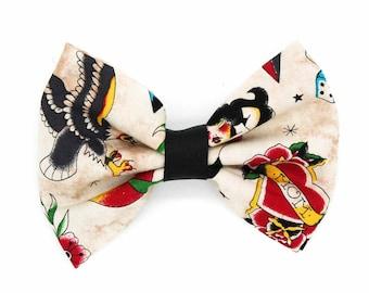 Traditional Tattoo Flash Fabric Hair Bow Clip