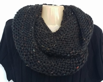 Black Speckled Multi Chunky Thick Boho Hippie Cowl Eternity Infinity Soft Scarf Gift For Her  (0216BM)