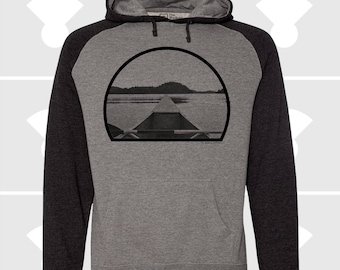 Canoe Men's Hoodie - Men's Clothing - Men's Sweatshirt - Hooded Pullover Raglan Sweatshirt - Men's Outdoor Hoodie - Kayak Gift - Canoeing