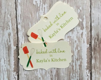 Baked with Love Tag, From My Kitchen to Yours, Christmas Baked Goods, Baked Goods, Food Label, Jar Tag, Jar Label, Holiday Baked Goods (097)