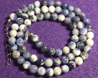 Blue and White Sodalite Stone Beaded Necklace, Handmade