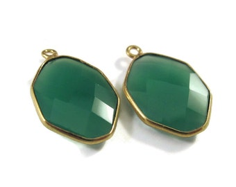 Two Green Onyx Pendants, Matched Pair of Gold Plated Irregular Hexagon Bezel Pendants, 21mm x 13mm, Gemstone Charm