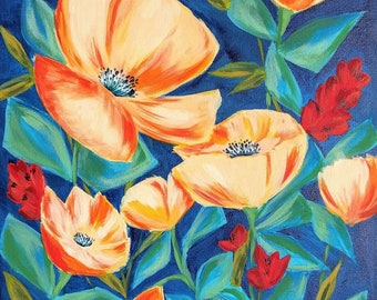 Blooming in blue - flowers - acrylic painting - art print, wall art