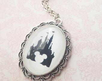 Handmade Cinderella's Castle Mickey Mouse Silhouette Cameo Necklace // Disneyland Disneyworld Castle