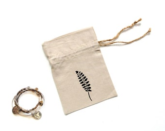 Linen fabric gift bag drawstring pouch, jewelry travel bag, hand stenciled leaf, Happy Birthday, hen party bag