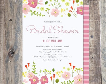 Floral Bridal Shower Invitation, Printable PDF or Jpeg
