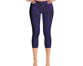 Clubwear Capri Leggings dark purple blue ombre textured print womens girls cool Grunge marble Designer Yoga Festival Workout cropped Pants
