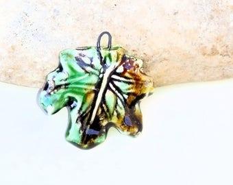 leaf pendant, vneyard, harvest, earthy green pendant
