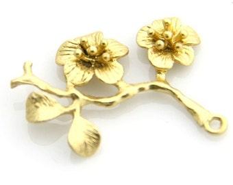 6 pcs of brass branch charm-1164-35x30mm-18k gold