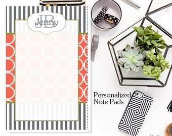 Custom Notepad, Note Pads, Personalized Note Pads,Hoops Stripes Personalized Notepad -  Custom Note Pads, Monogrammed Note Pads,