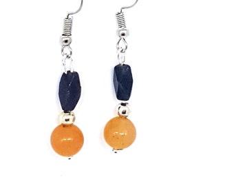 Orange & Grey Aventurine Drop Earrings
